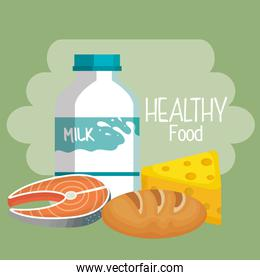 delicious milk bottle with healthy food