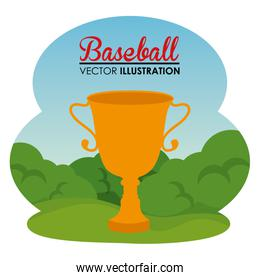 baseball sport with trophy cup