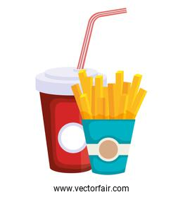delicious french fries with soda isolated icon