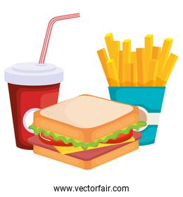 sandwich with french fries and soda isolated icon