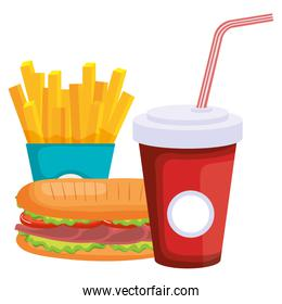 sandwich with french fries and soda