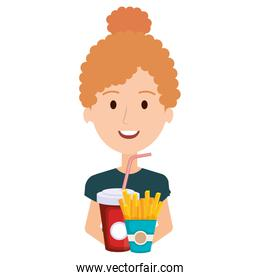woman with delicious french fries and soda
