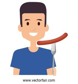 man with delicious sausage in fork