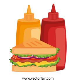 delicious sandwish with sauces bottles