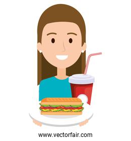 woman with delicious sandwish and soda