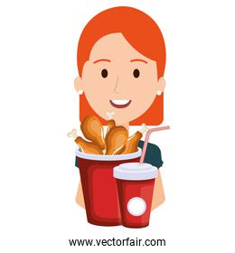 woman with chicken thighs in pot and soda