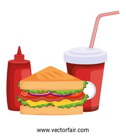 delicious sandwish with soda and bottle ketchup