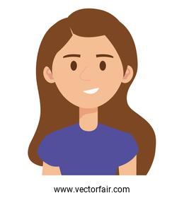 woman wearing purple shirt isolated icon