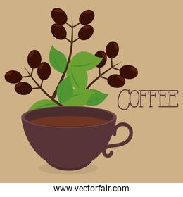delicious coffee cup with plant