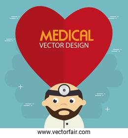 heart cardio with doctor character
