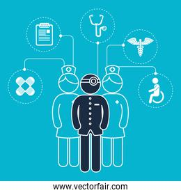 doctor with medical healthcare icons