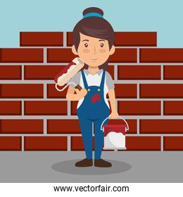 woman builder character working
