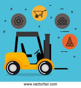forklift with under construction equipment