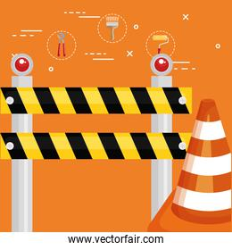 fence with cone construction and icons