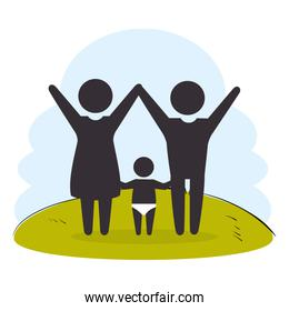 family members on park silhouette  characters