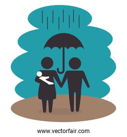 family members under the rain silhouette  characters
