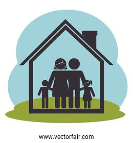 family members on house silhouette  characters