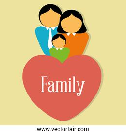 happy family members with heart characters