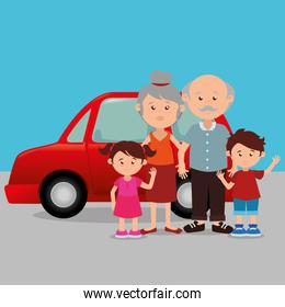 family members with cars scene