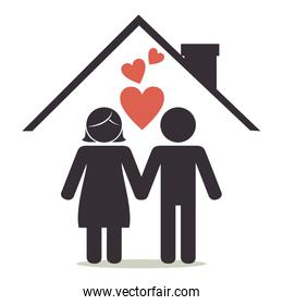 lovers couple on house silhouette  characters