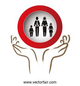 hands protection family members silhouette  characters
