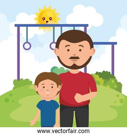 father with son in park nature