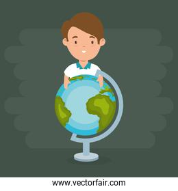 little boy with world planet