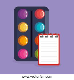 paint pallette and notebook icons