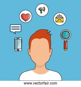 young man with social media marketing icons