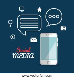 smartphone with social media marketing icons