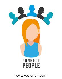 woman with connect people