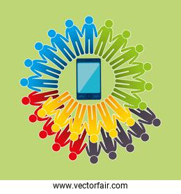 community with smartphone connected