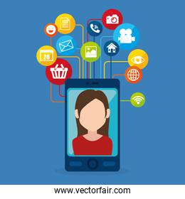 young woman with social media marketing icons