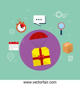 gitf in parachute with delivery service icons