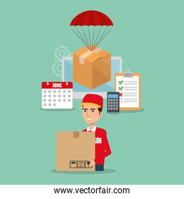 delivery service worker with computer
