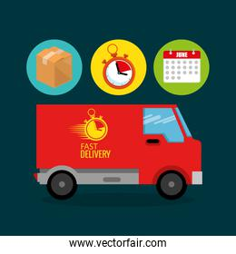 truck with delivery service icons
