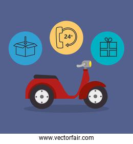 motorcycle with delivery service icons