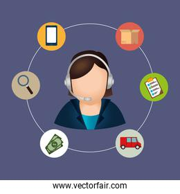 callcenter agent with delivery service icons