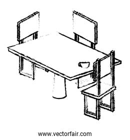 table with chair isometric