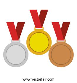 set Championship medals isolated icon