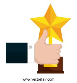hand human with trophy star isolated icon