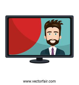 computer desktop with businessman isolated icon