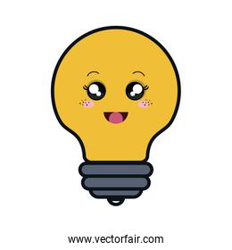 bulb light comic character isolated icon
