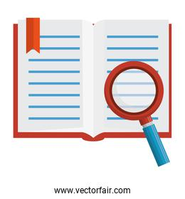 text book with magnifying glass isolated icon