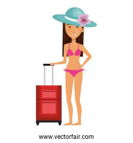 Woman in swimsuit character