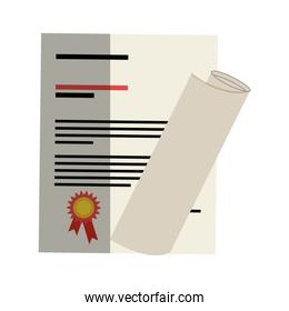 graduation certificated isolated icon