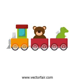 cute train toy with teddy and rex