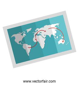 world map paper isolated icon