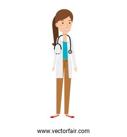 female doctor with stethoscope avatar character