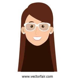 beautiful and young woman head with glasses